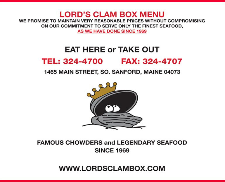 Seafood lobster Dinner Lords Clam Box Sanford Maine, Seafood Restaurant, Maine, Maine Lobsters, Seafood Dining, Maine Seacoast, Sanford Maine, lobster Maine Coast, clam chowder, lobster chowder, seafood chowder, Steamers, lobster stew, shrimp, scallops, fish, crabs, crab cakes, clams, mussels, steamers