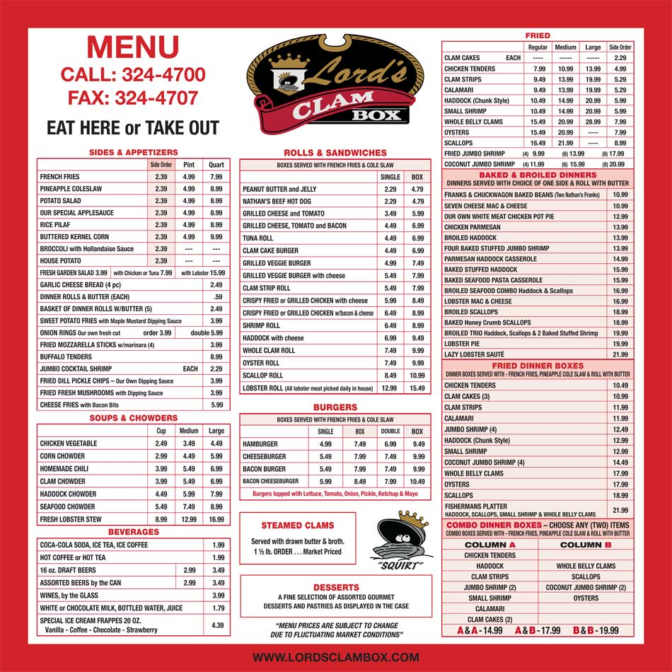 Lords Clam Box, Seafood Restaurant in Sanford Maine, Seafood Dining, clam chowder, FRESH Maine ...