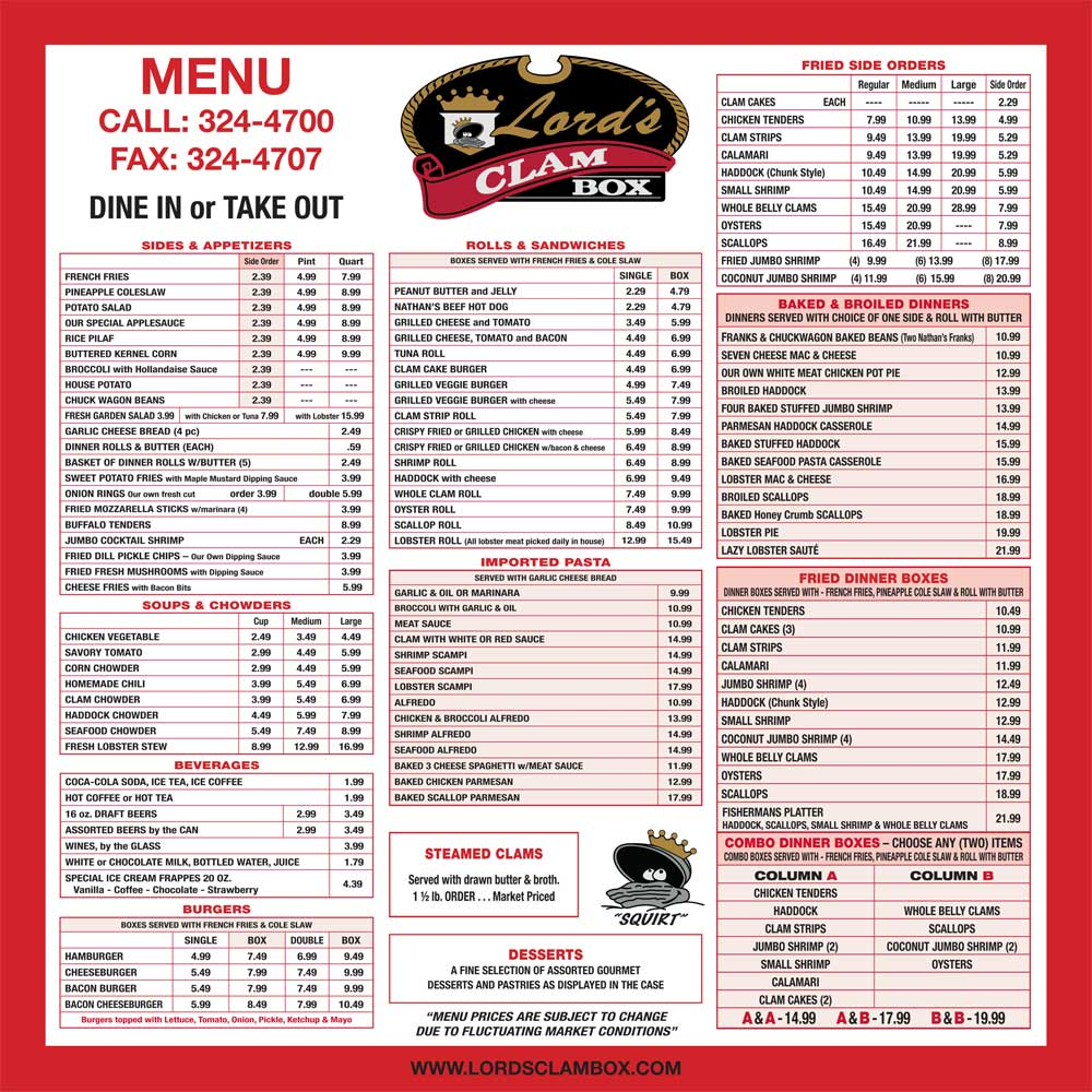 Lords-Clam-Box Menu