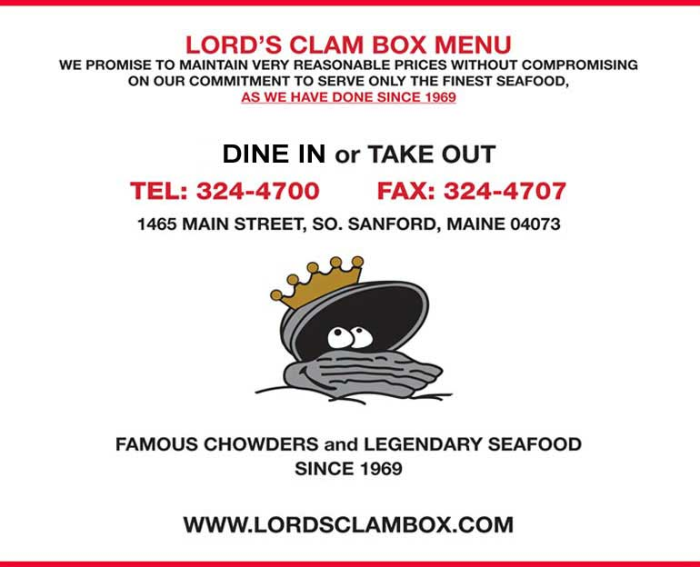 Sanford Maine Seafood lobster Dinner Lords Clam Box Sanford Maine, Seafood Restaurant, Maine, Maine Lobsters, Seafood Dining, Maine Seacoast, Sanford Maine, lobster Maine Coast, clam chowder, lobster chowder, seafood chowder, Steamers, lobster stew, shrimp, scallops, fish, crabs, crab cakes, clams, mussels, steamers